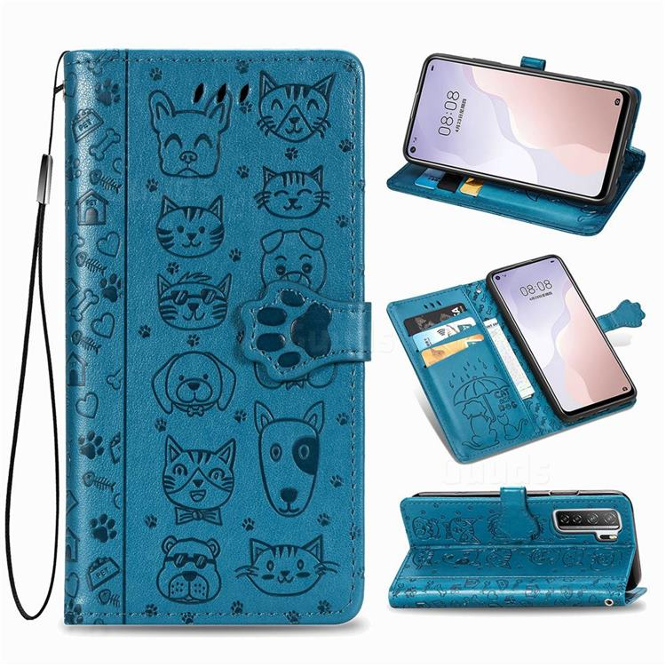 Embossing Dog Paw Kitten and Puppy Leather Wallet Case for Huawei P40 Lite 5G - Blue