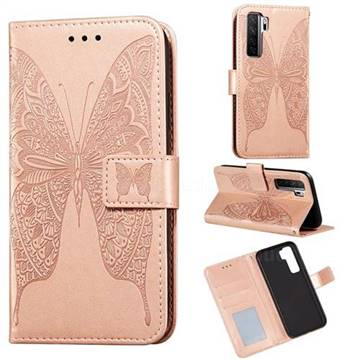 Intricate Embossing Vivid Butterfly Leather Wallet Case for Huawei P40 Lite 5G - Rose Gold