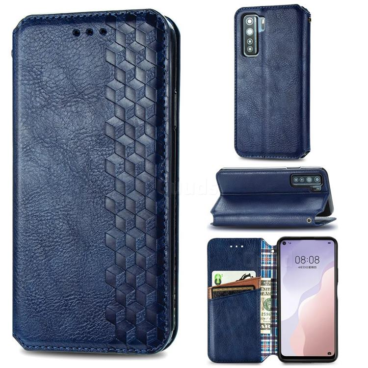 Ultra Slim Fashion Business Card Magnetic Automatic Suction Leather Flip Cover for Huawei P40 Lite 5G - Dark Blue