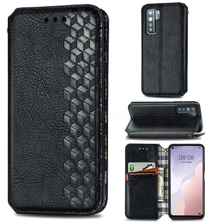 Ultra Slim Fashion Business Card Magnetic Automatic Suction Leather Flip Cover for Huawei P40 Lite 5G - Black