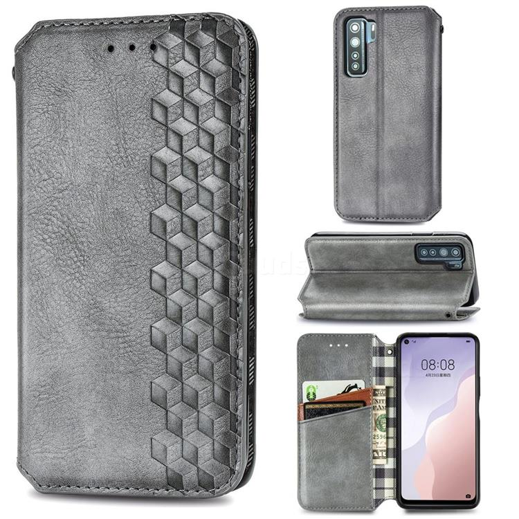 Ultra Slim Fashion Business Card Magnetic Automatic Suction Leather Flip Cover for Huawei P40 Lite 5G - Grey
