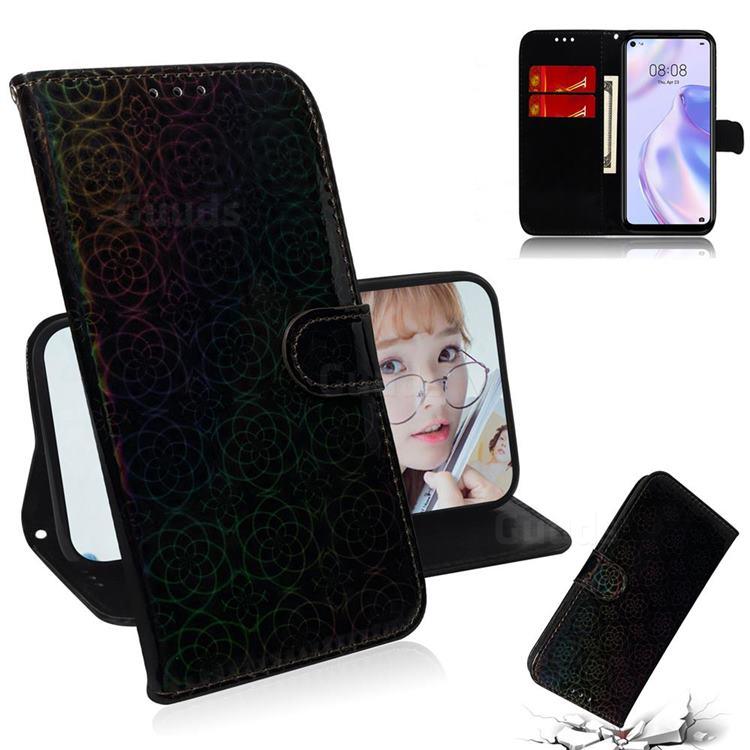 Laser Circle Shining Leather Wallet Phone Case for Huawei P40 Lite 5G - Black