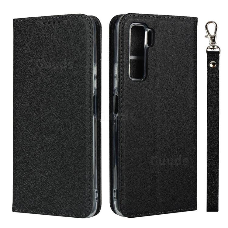 Ultra Slim Magnetic Automatic Suction Silk Lanyard Leather Flip Cover for Huawei P40 Lite 5G - Black