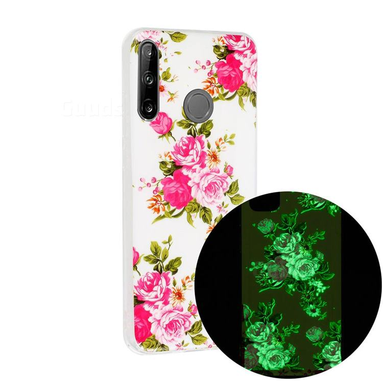 Peony Noctilucent Soft TPU Back Cover for Huawei P40 Lite E