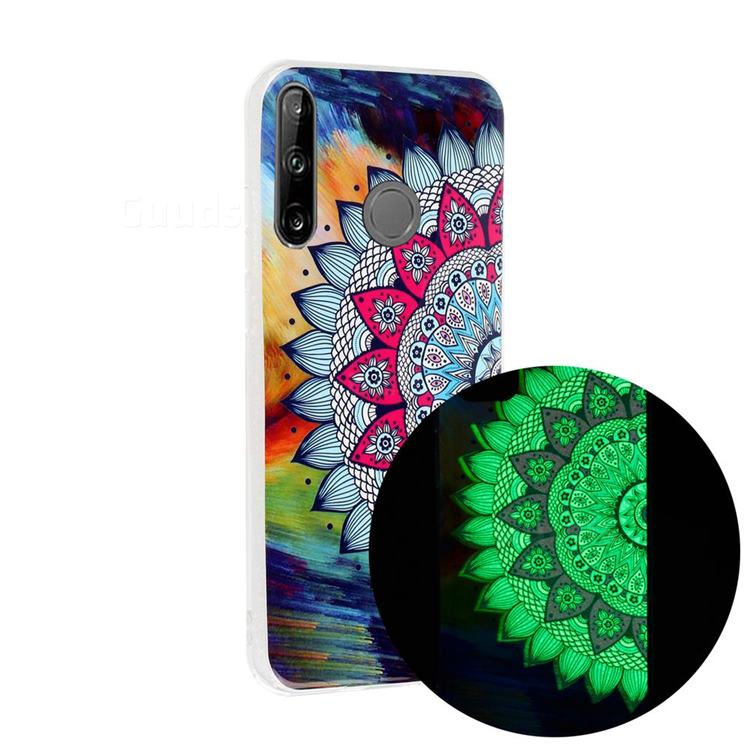 Colorful Sun Flower Noctilucent Soft TPU Back Cover for Huawei P40 Lite E