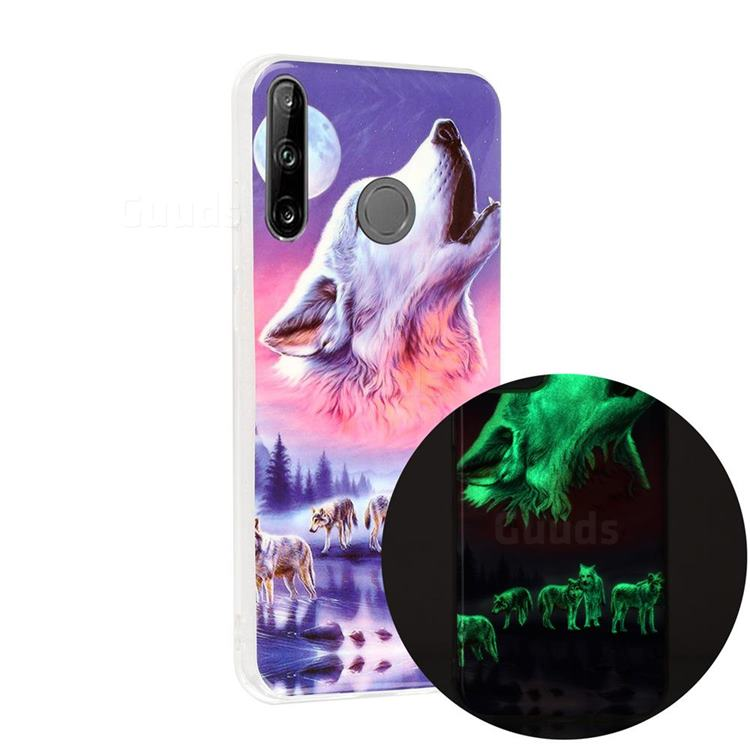 Wolf Howling Noctilucent Soft TPU Back Cover for Huawei P40 Lite E