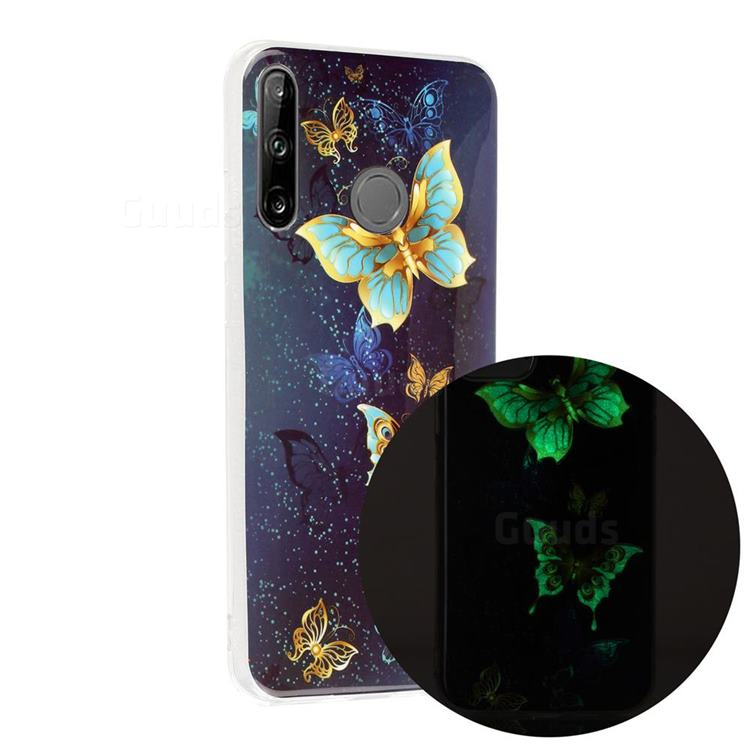 Golden Butterflies Noctilucent Soft TPU Back Cover for Huawei P40 Lite E