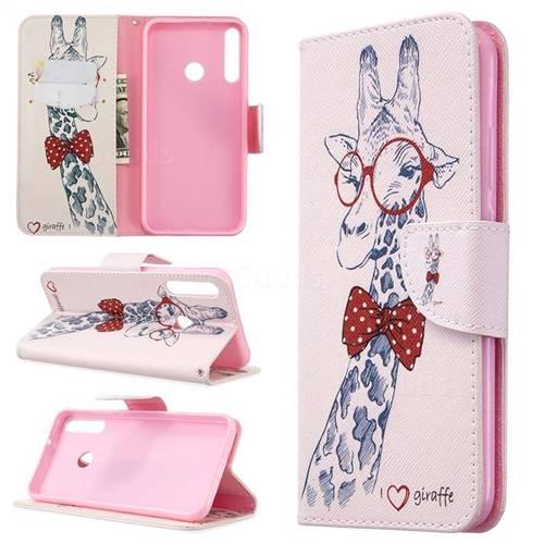Glasses Giraffe Leather Wallet Case for Huawei P40 Lite E