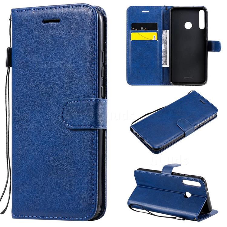Retro Greek Classic Smooth PU Leather Wallet Phone Case for Huawei P40 Lite E - Blue