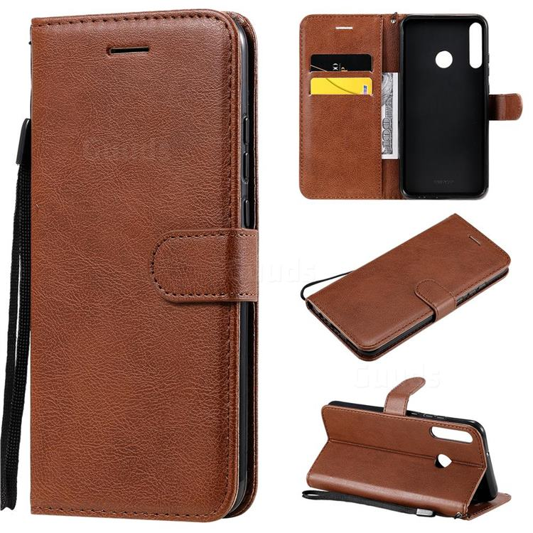 Retro Greek Classic Smooth PU Leather Wallet Phone Case for Huawei P40 Lite E - Brown