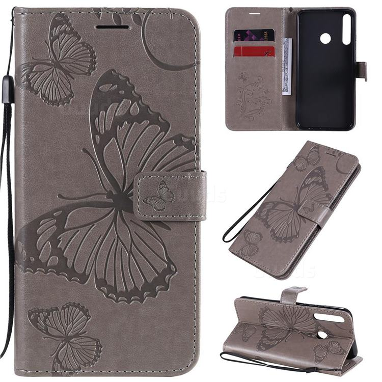Embossing 3D Butterfly Leather Wallet Case for Huawei P40 Lite E - Gray