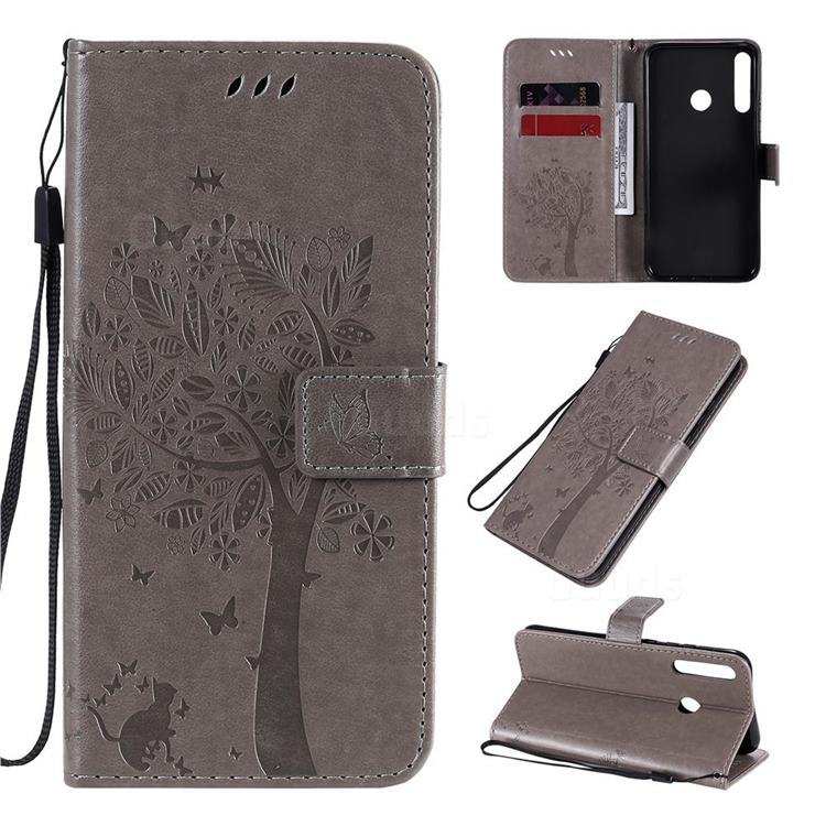 Embossing Butterfly Tree Leather Wallet Case for Huawei P40 Lite E - Grey