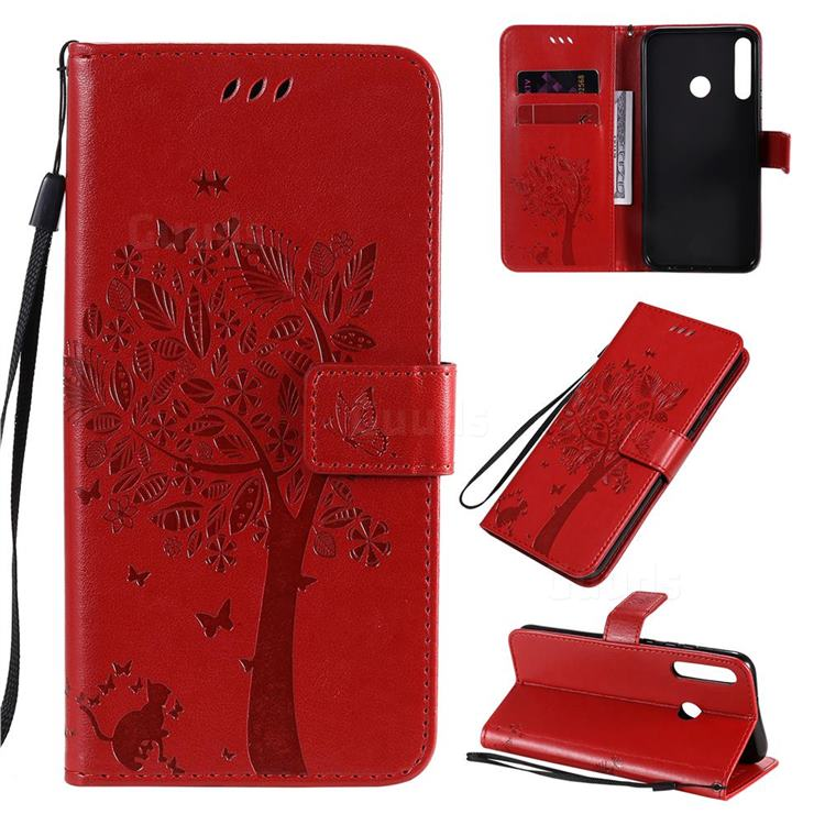 Embossing Butterfly Tree Leather Wallet Case for Huawei P40 Lite E - Red