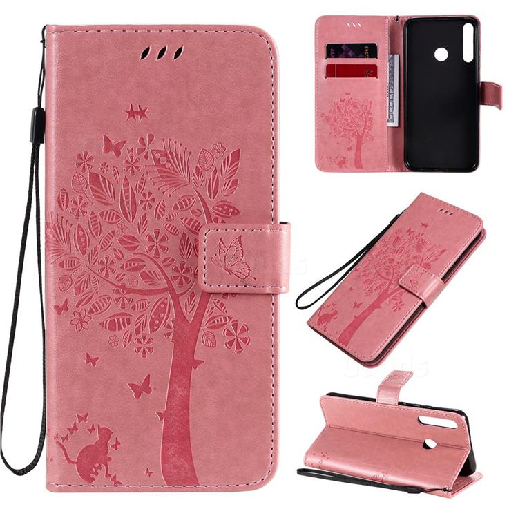 Embossing Butterfly Tree Leather Wallet Case for Huawei P40 Lite E - Pink