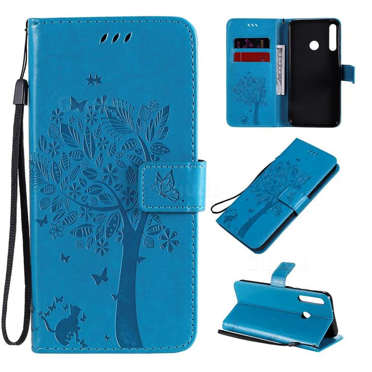 Embossing Butterfly Tree Leather Wallet Case for Huawei P40 Lite E - Blue