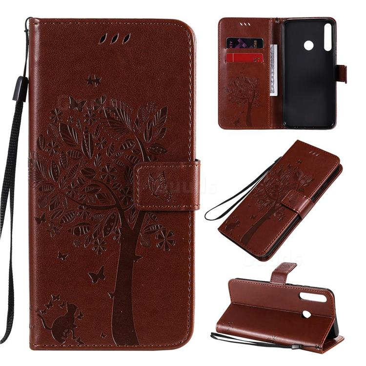 Embossing Butterfly Tree Leather Wallet Case for Huawei P40 Lite E - Coffee