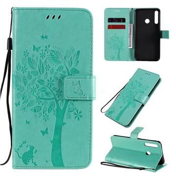 Embossing Butterfly Tree Leather Wallet Case for Huawei P40 Lite E - Cyan