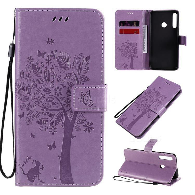 Embossing Butterfly Tree Leather Wallet Case for Huawei P40 Lite E - Violet