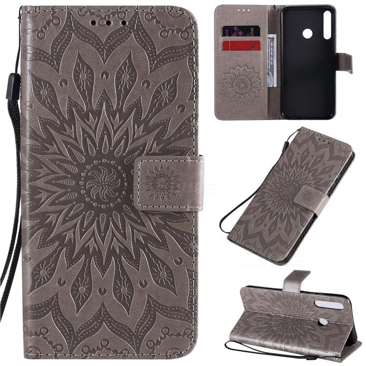 Embossing Sunflower Leather Wallet Case for Huawei P40 Lite E - Gray