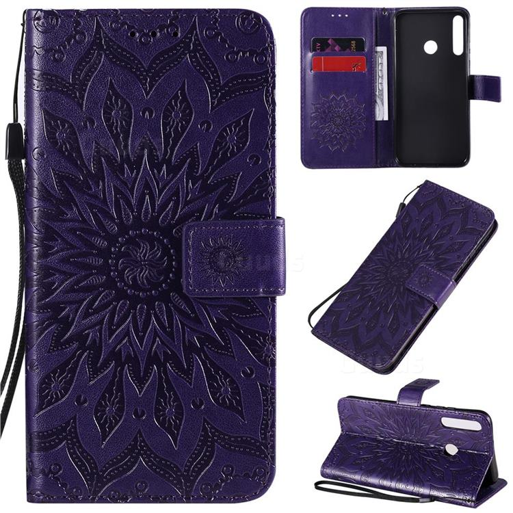 Embossing Sunflower Leather Wallet Case for Huawei P40 Lite E - Purple