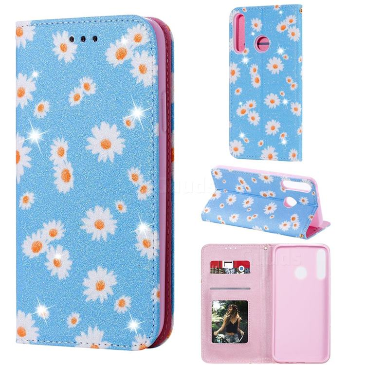 Ultra Slim Daisy Sparkle Glitter Powder Magnetic Leather Wallet Case for Huawei P40 Lite E - Blue