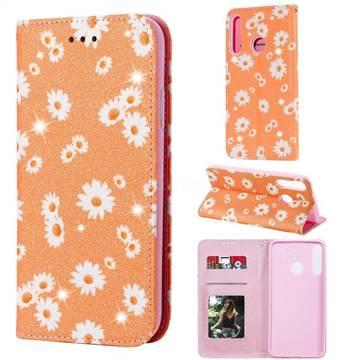 Ultra Slim Daisy Sparkle Glitter Powder Magnetic Leather Wallet Case for Huawei P40 Lite E - Orange
