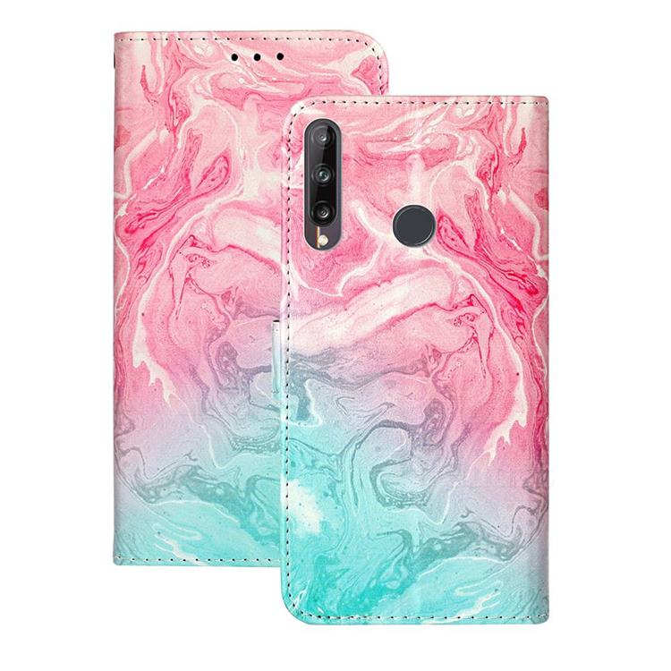 Pink Green Marble PU Leather Wallet Case for Huawei P40 Lite E