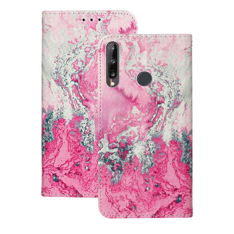 Pink Seawater PU Leather Wallet Case for Huawei P40 Lite E