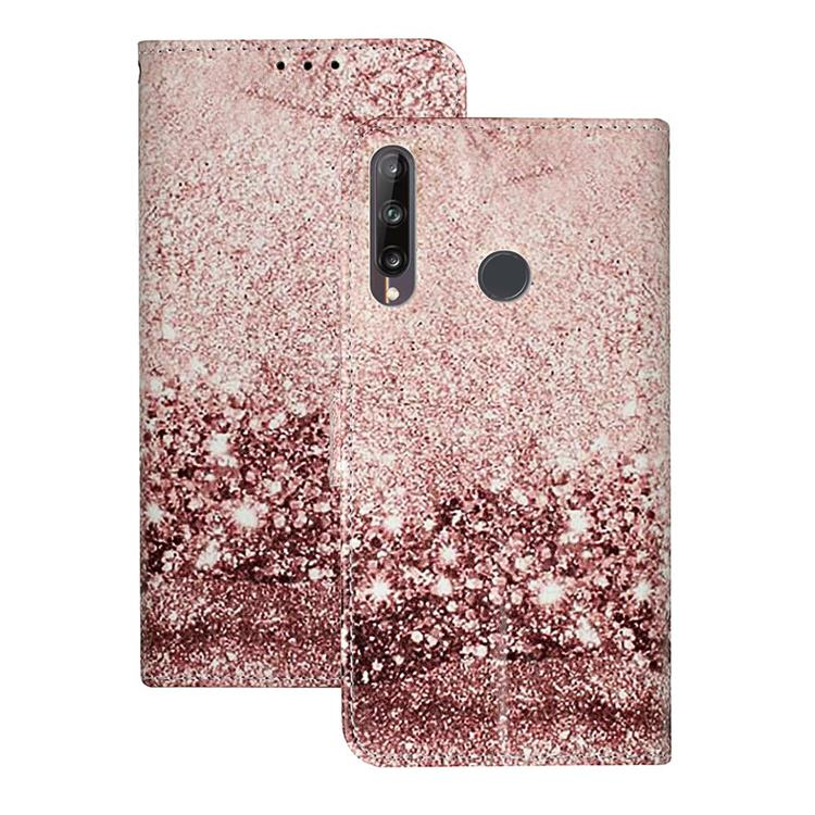 Glittering Rose Gold PU Leather Wallet Case for Huawei P40 Lite E