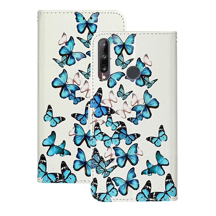 Blue Vivid Butterflies PU Leather Wallet Case for Huawei P40 Lite E