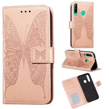 Intricate Embossing Vivid Butterfly Leather Wallet Case for Huawei P40 Lite E - Rose Gold