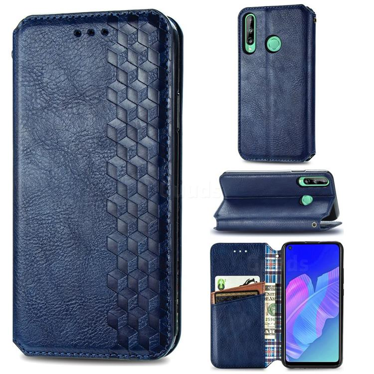 Ultra Slim Fashion Business Card Magnetic Automatic Suction Leather Flip Cover for Huawei P40 Lite E - Dark Blue