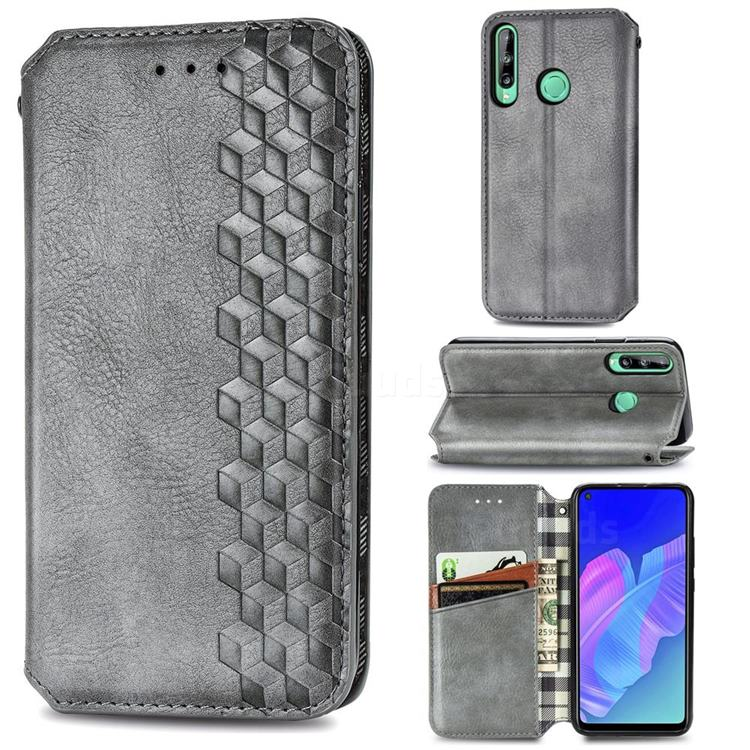 Ultra Slim Fashion Business Card Magnetic Automatic Suction Leather Flip Cover for Huawei P40 Lite E - Grey