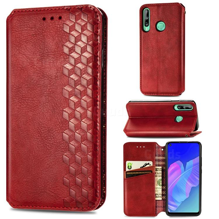 Ultra Slim Fashion Business Card Magnetic Automatic Suction Leather Flip Cover for Huawei P40 Lite E - Red