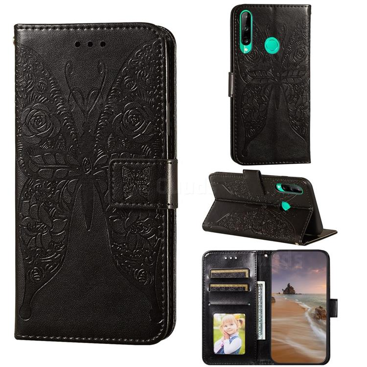 Intricate Embossing Rose Flower Butterfly Leather Wallet Case for Huawei P40 Lite E - Black