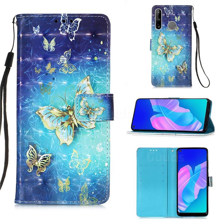 Gold Butterfly 3D Painted Leather Wallet Case for Huawei P40 Lite E