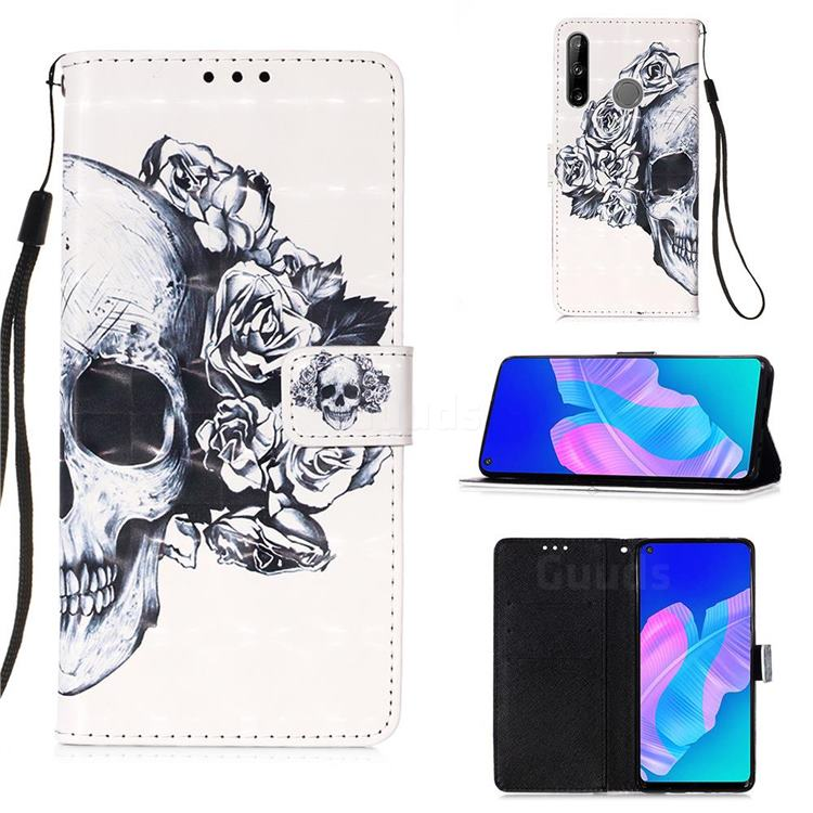 Skull Flower 3D Painted Leather Wallet Case for Huawei P40 Lite E