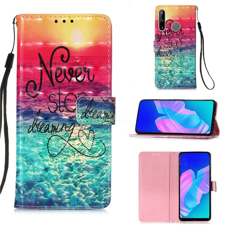 Colorful Dream Catcher 3D Painted Leather Wallet Case for Huawei P40 Lite E