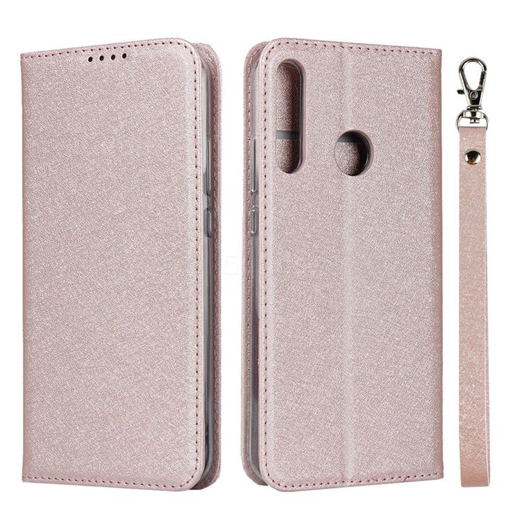 Ultra Slim Magnetic Automatic Suction Silk Lanyard Leather Flip Cover for Huawei P40 Lite E - Rose Gold