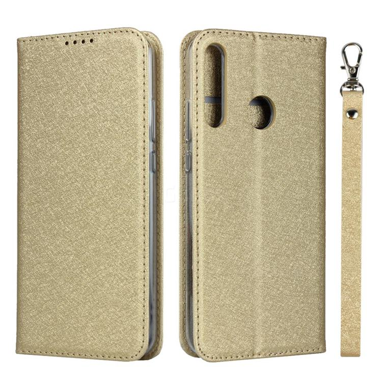 Ultra Slim Magnetic Automatic Suction Silk Lanyard Leather Flip Cover for Huawei P40 Lite E - Golden
