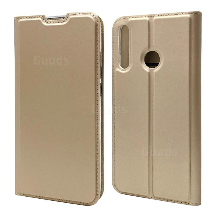 Ultra Slim Card Magnetic Automatic Suction Leather Wallet Case for Huawei P40 Lite E - Champagne