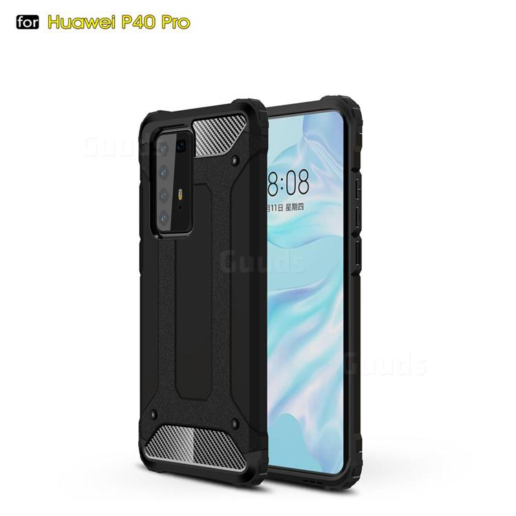 King Kong Armor Premium Shockproof Dual Layer Rugged Hard Cover for Huawei P40 Pro - Black Gold