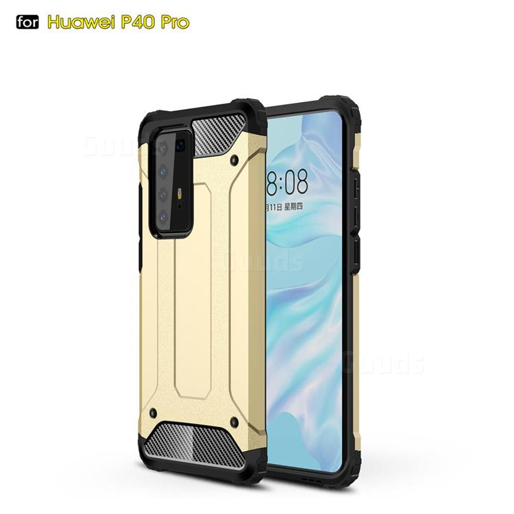 King Kong Armor Premium Shockproof Dual Layer Rugged Hard Cover for Huawei P40 Pro - Champagne Gold