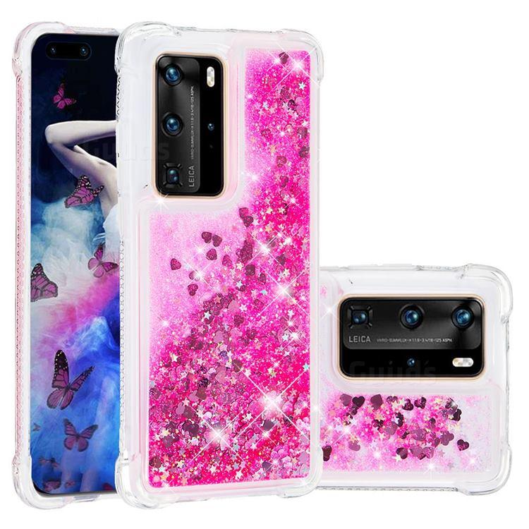 Dynamic Liquid Glitter Sand Quicksand TPU Case for Huawei P40 Pro - Pink Love Heart