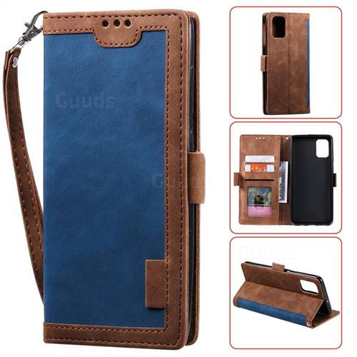 Luxury Retro Stitching Leather Wallet Phone Case for Huawei P40 Pro - Dark Blue