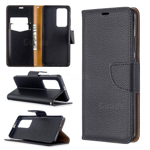 Classic Luxury Litchi Leather Phone Wallet Case for Huawei P40 Pro - Black