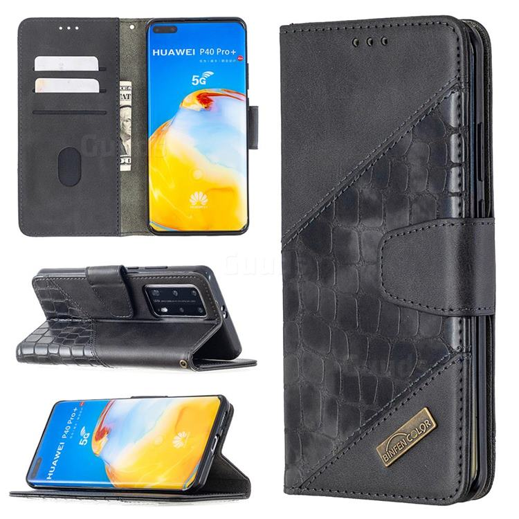 BinfenColor BF04 Color Block Stitching Crocodile Leather Case Cover for Huawei P40 Pro - Black