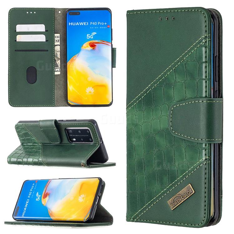 BinfenColor BF04 Color Block Stitching Crocodile Leather Case Cover for Huawei P40 Pro - Green