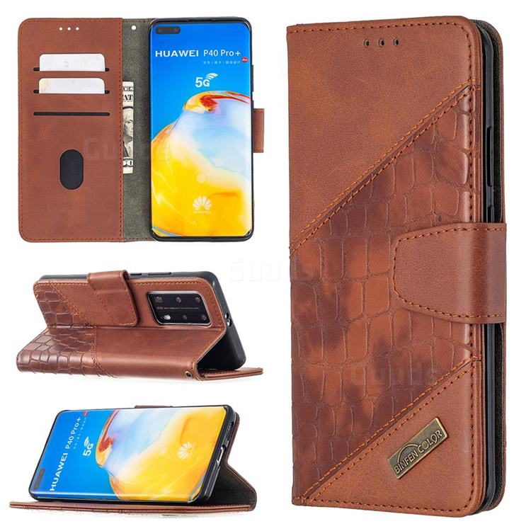 BinfenColor BF04 Color Block Stitching Crocodile Leather Case Cover for Huawei P40 Pro - Brown
