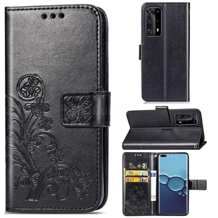 Embossing Imprint Four-Leaf Clover Leather Wallet Case for Huawei P40 Pro - Black